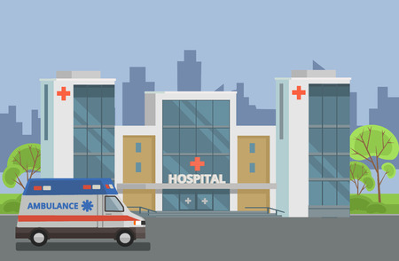 reanimation: Hospital building. Vector flat illustration