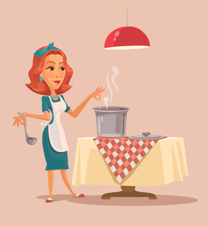 stereotypical housewife: Housewife cooking. Vector cartoon flat illustration