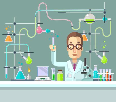 lab technician: Medical laboratory. Vector flat illustration Illustration