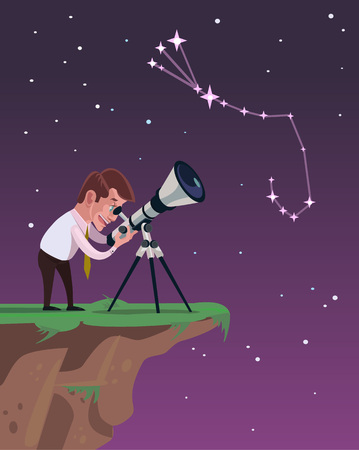 hand held: Man looks through a telescope. Vector flat illustration