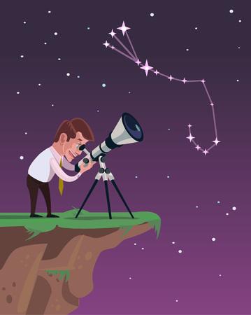 fernrohr: Man schaut durch ein Teleskop. Vector flach Illustration Illustration