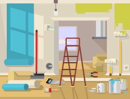 paint cans: Renovation apartment. Vector flat illustration Illustration
