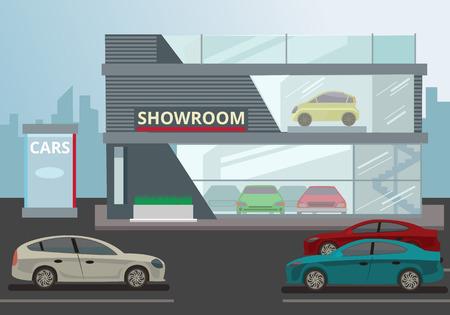 Auto showroom. Vector flat illustratie