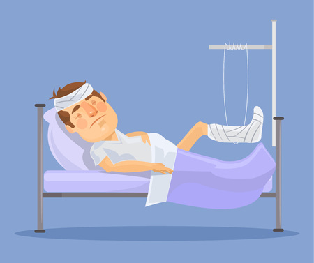 Man with broken leg. Vector flat illustration