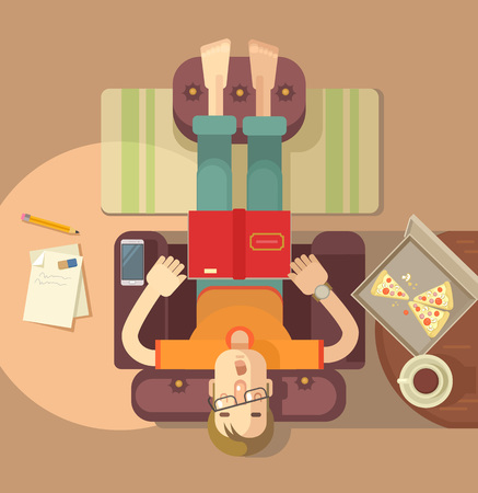 livingroom: Man sleeping on sofa. Vector flat illustration