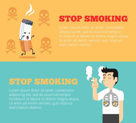 smoking stop: Stop Smoking. Vector cartoon banners illustration set