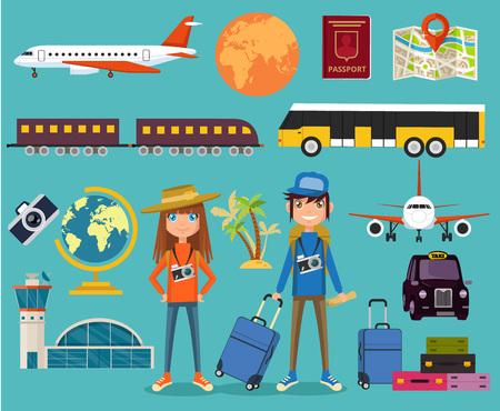 tourists: Tourist Equipment. Vector flat illustration Illustration
