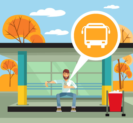 Man on the bus station using mobile app. Vector flat illustration