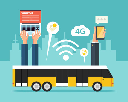City bus with wi-fi. Vector flat illustration Vettoriali