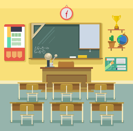 cartoon clock: School classroom. Vector flat illustration Illustration