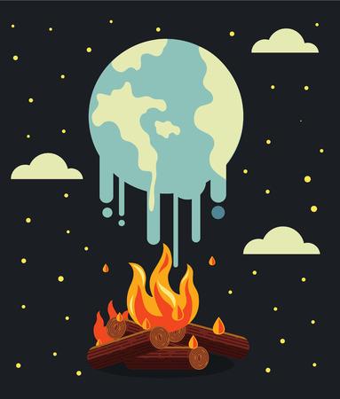 calentamiento global: Calentamiento global. Vector ilustración plana Vectores
