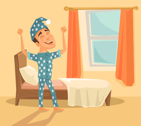 beds: Good morning. Vector flat illustration