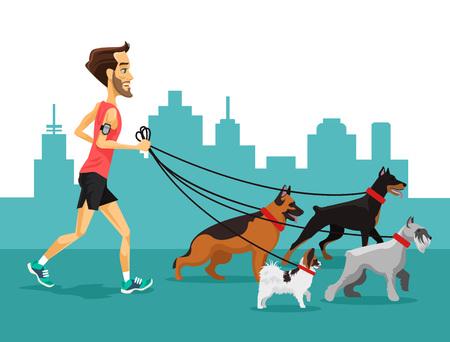 Cartoon homme courant avec ses chiens. Vector illustration plat Banque d'images - 52217651