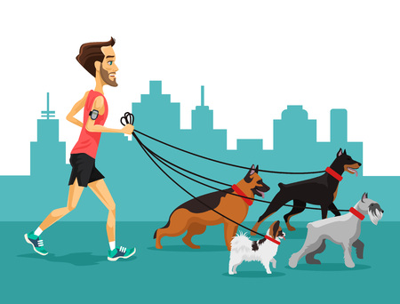 person walking: Cartoon man running with his dogs. Vector flat illustration