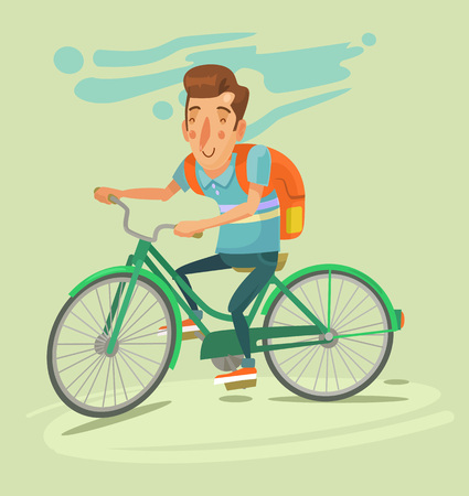 bicyclists: Bicyclist traveler with backpack. Vector flat illustration Illustration