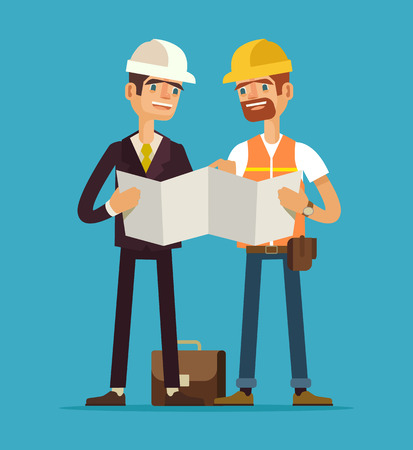Foreman and worker. Vector flat illustration