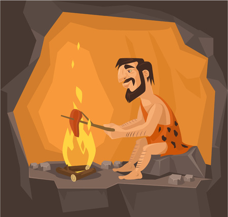Caveman is cooking in cave. Vector flat illustration Ilustracja