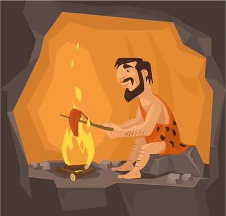 Caveman sta cucinando in grotta. Vector piatta illustrazione