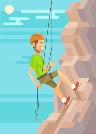 abseiling: Climber. Vector flat illustration