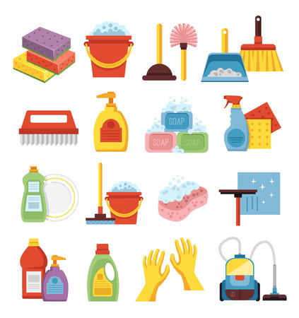 household equipment: Household supplies and cleaning flat icons set.