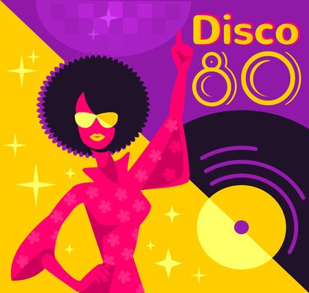 80s Retro Poster discoteca. Vector piatta illustrazione Archivio Fotografico - 52396576