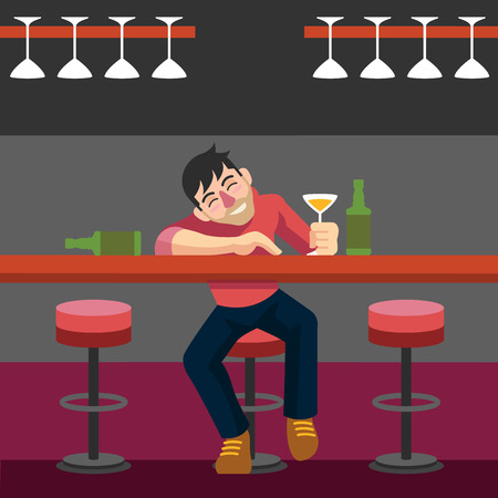 drunkard: Drunk man. Vector flat illustration