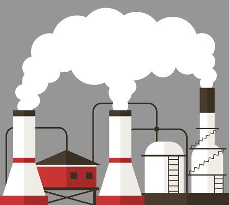 emitting: Factory emitting smoke. Vector flat illustration
