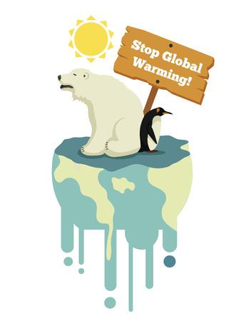 지구 온난화를 중지합니다. 벡터 평면 그림 일러스트