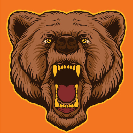 Brown bear head. Vector cartoon illustration