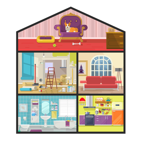livingroom: House in cut. Vector flat illustration