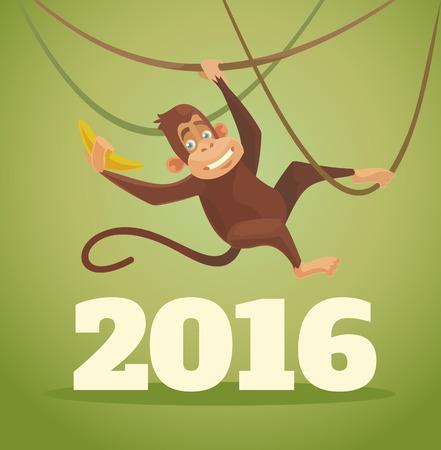 Monkey 2016. Vector flat illustration