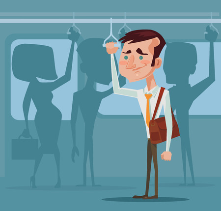 Man in public transport. Vector flat illustration