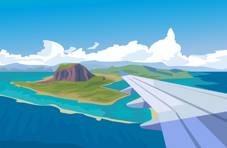view window: View from the window of airplane. Vector flat illustration Illustration