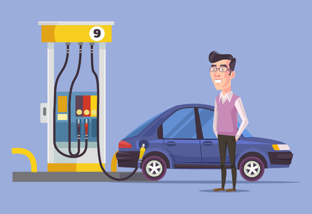 gas man: Gas station and man. Vector flat illustration