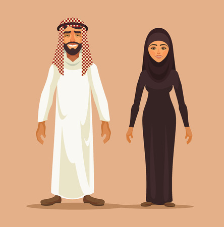 arabia: Traditional arab couple. Vector flat illustration