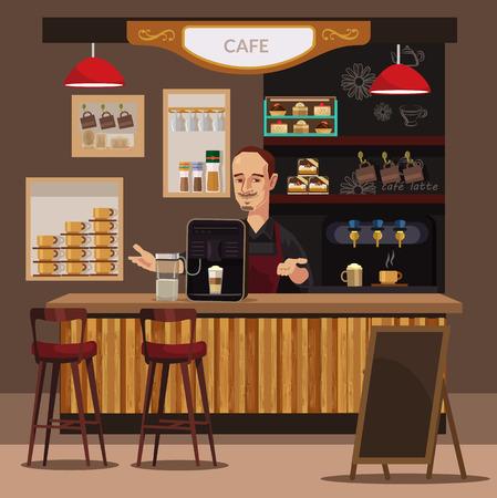barra de café y barista. Vector ilustración plana