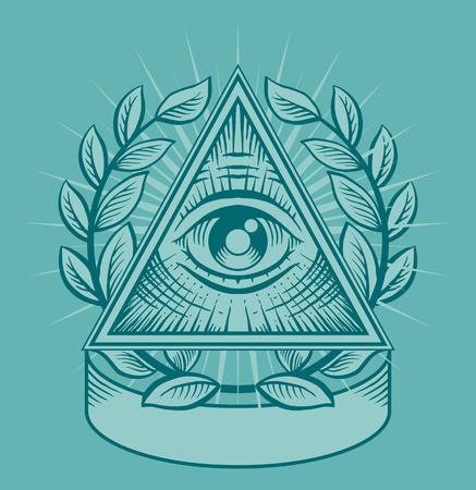 illuminati: All seeing eye. Vector illustration