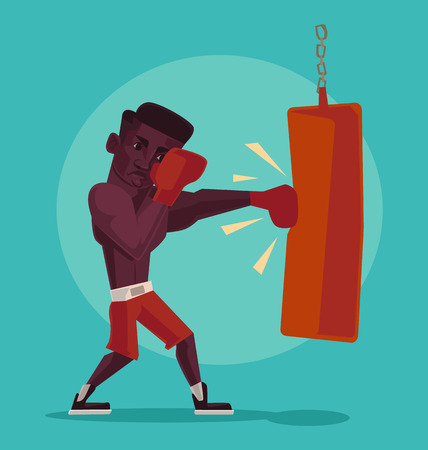 box of matches: African-american boxer. Vector flat illustration