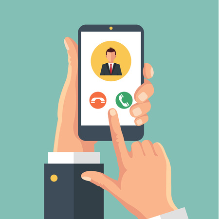 touch screen phone: Incoming call on smartphone screen. Vector flat illustration