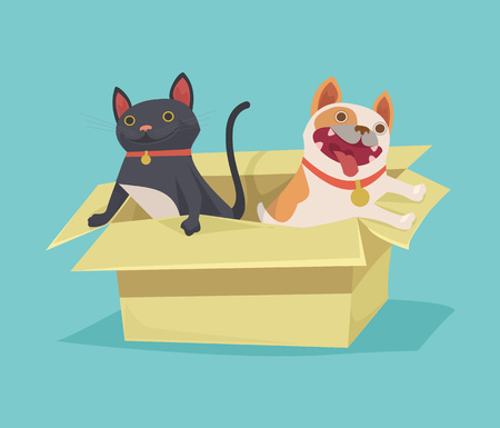 stray: Cat and dog sitting in cardboard box. Vector flat illustration