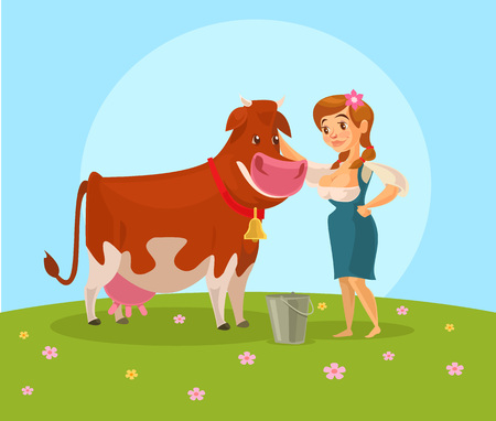 milker: Cow and milkmaid. Vector flat illustration