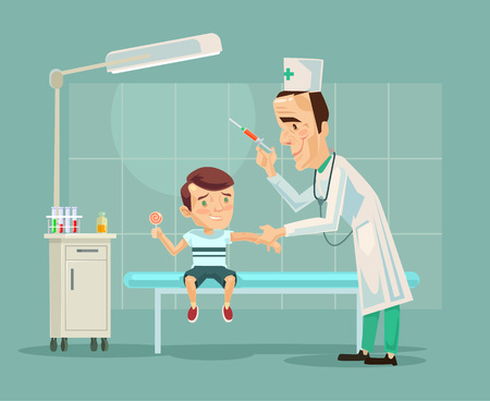stethoscope boy: Doctor doing child vaccination. Vector flat cartoon illustration