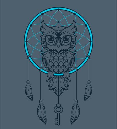 owl illustration: Dream-catcher owl. Vector illustration Illustration