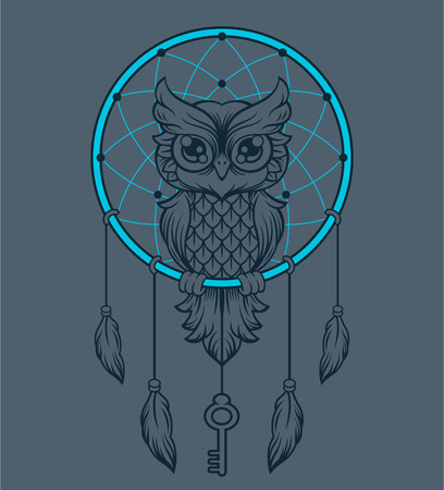 rope folk: Dream-catcher owl. Vector illustration Illustration