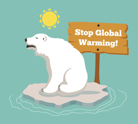 Stop global warming. Vector flat illustration Illustration