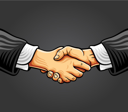 agreement shaking hands: Handshake. Vector comic style illustration