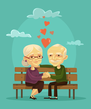 old hand: Elderly couple. Vector flat illustration