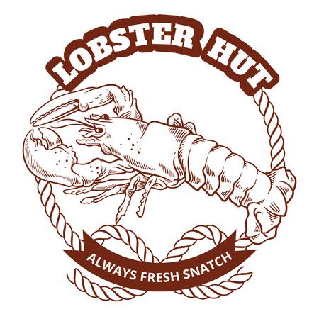 retro restaurant: Seafood restaurant retro poster. Vector emblem illustration Illustration