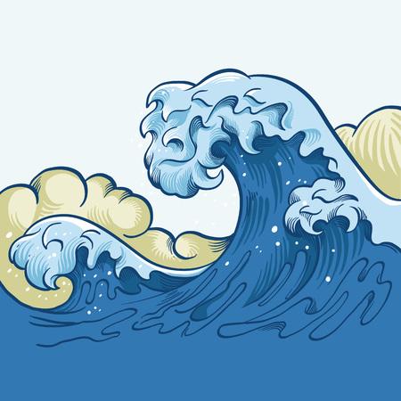 estado del tiempo: gran ola del océano. ilustración de dibujos animados de vectores