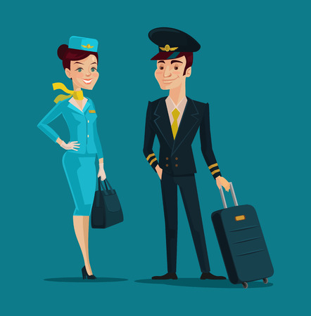 airline: Pilot and stewardess. Vector cartoon illustration